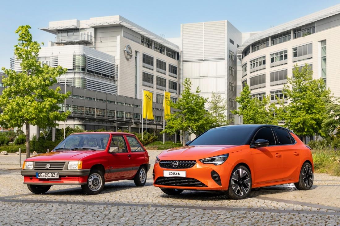 Opel Corsa-e (2019) & Opel Corsa Luxus (1983)