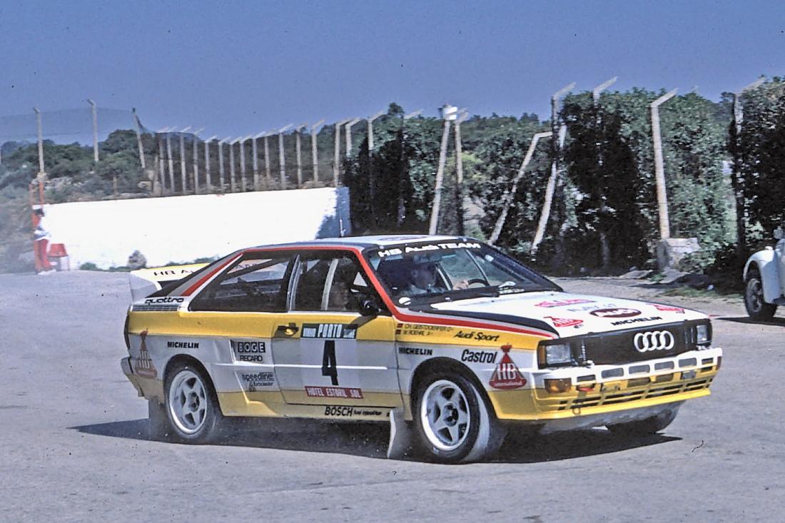 Audi Quattro em ação no rali de Portugal em 1984.